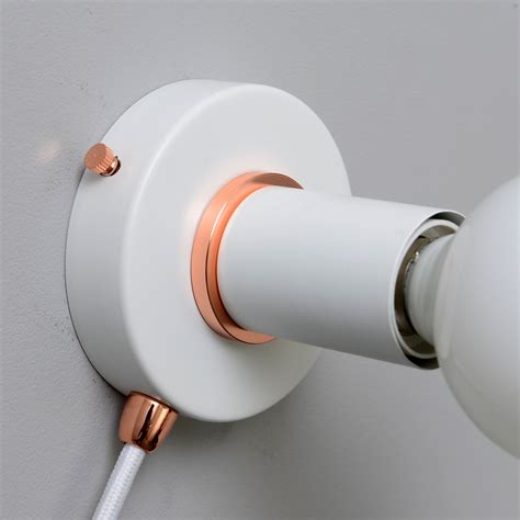 White Plug In Wall Sconce Light With Rose Gold Ring