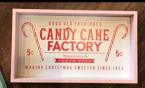 NWT-Wood Candy Cane Factory Sign